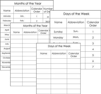 Days of Week & Months of Year Work