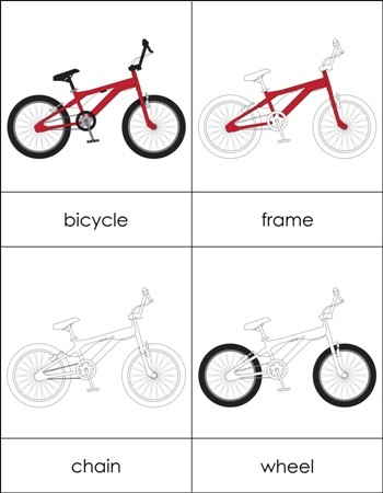 Parts of a Bicycle Nomenclature Cards