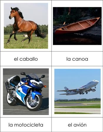 Spanish Nomenclature Cards - Transportation